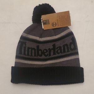 Timberland men's logo cuffed beanie with pom
